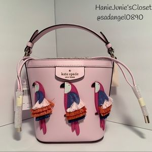 KATE SPADE SMALL BUCKET BAG PIPPA FLOCK PARTY BAG